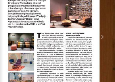 """""""Warsaw Home"""": Kolejne rekordy – artykuł dla miesięcznika """"BIZNES meble.pl"""""""