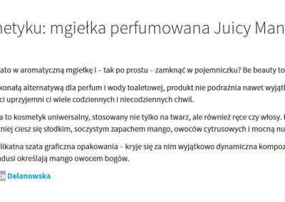 Opis kosmetyku: mgiełka perfumowana Juicy Mango z Be Beauty