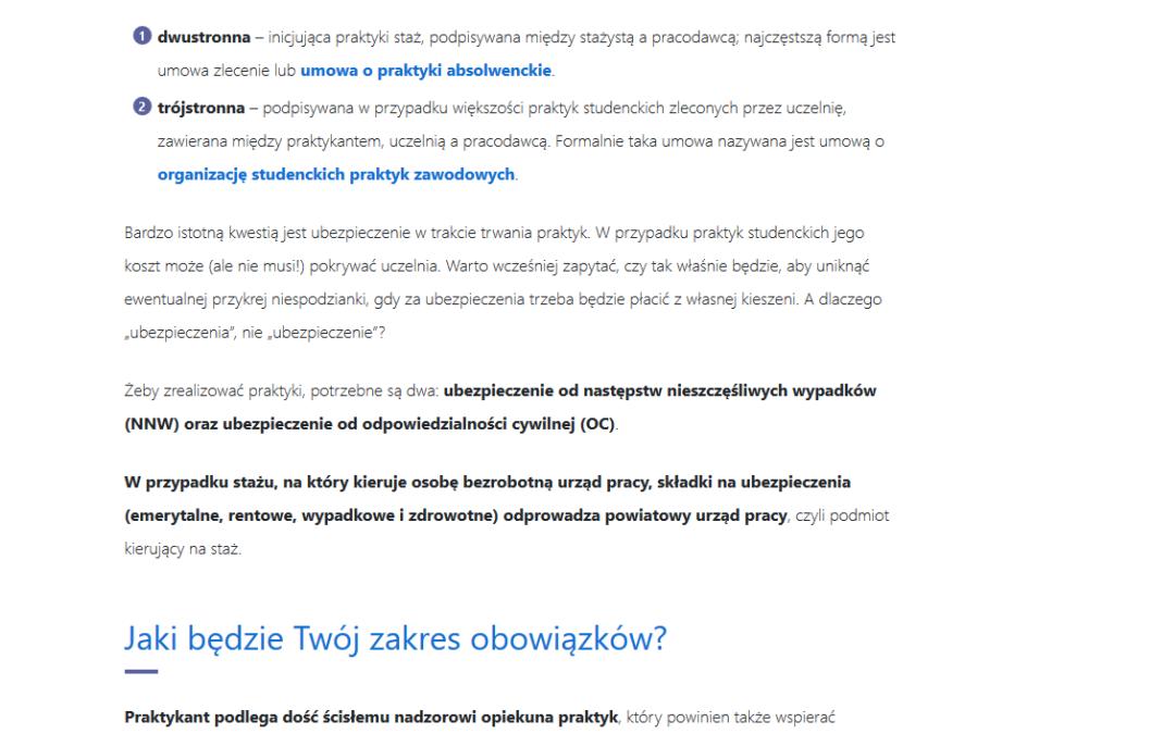 students.pl  – artykuł porównujący praktyki i staże
