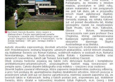 """""""Słownik sztuki Katowic i okolic"""" – artykuł dla miesięcznika """"Gazeta Uniwersytecka UŚ"""""""